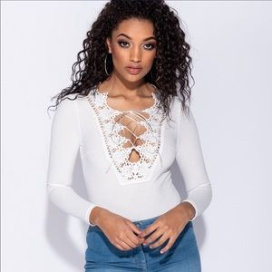 Tops - White lace up Bodysuit